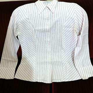 [Valino Donna] Kemeja Formal Lengan Panjang Putih Stripes Pink