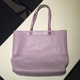 Oroton Genuine Leather Tote Bag In Lavender