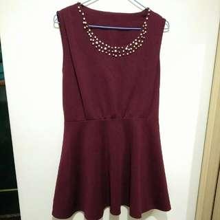 衣物包包買一送一🍭酒紅色珍珠小禮服