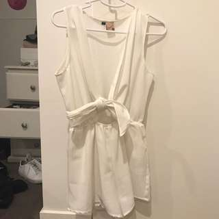 White Tie Front Playsuit Size 10