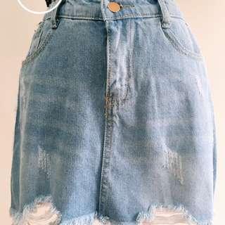 韓版圓環皮帶側滾邊刷破鬆緊牛仔褲裙2色 #三百元牛仔