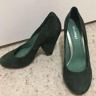 MOLLINI Vintage Green Suede Heels