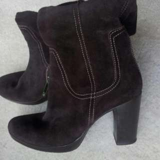 #eofysale 70s Suede Leather Choc Brown Boots Size 7.5-8 Stitch Feature