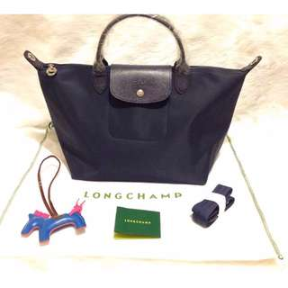 Longchamp Neo Medium Navy Bag (New, Genuine and On Hand for Shipping)