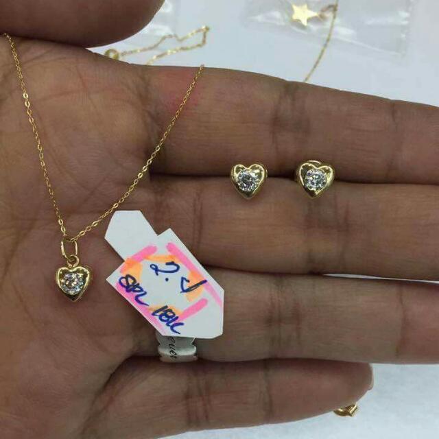 18K Gold Necklace & Earrings