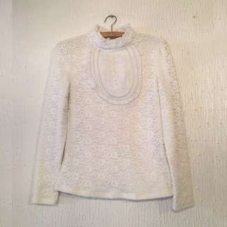UNBRANDED Lace Long-Sleeved Top