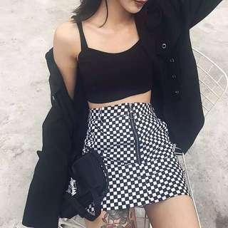 棋盤格黑白格個性高腰短裙
