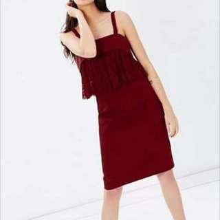 Lace Frill Halter Dress