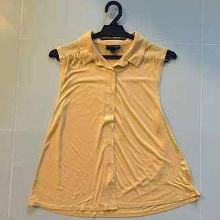 Topshop Buttery Yellow Sleeveless Top