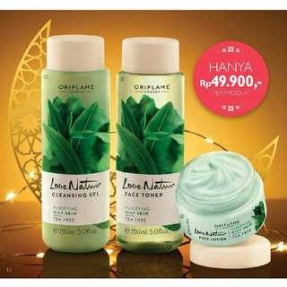 Love Nature Cleansing Gel Tea Tree, Face Toner Tea Tree n Face Lotion Tea Trea