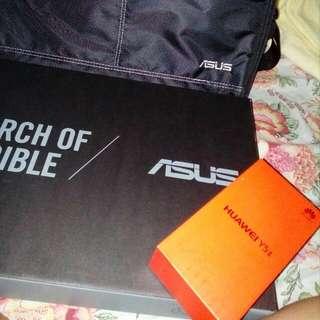 ASUS Laptop and Huawei Y5 II