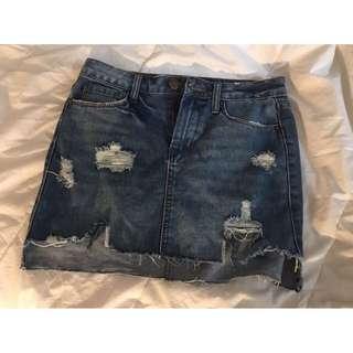 High-Waisted Denim Ripped Skirt
