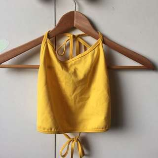 NEW AMERICAN APPAREL YELLOW HALTER TOP ~ FREE SHIPPING