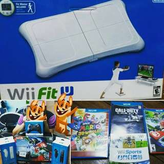 Nintendo WII U Mario Kart Plus WII U fit and more games
