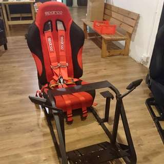 Red Sparco Seat with frame and gear box mount (60% New) Sparco Six Mounting Safety Belt and 2 side mirrors