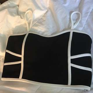White And Black Cropped Tank