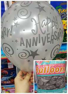 25pcs Size 12 Happy  Anniversary Silver Balloons