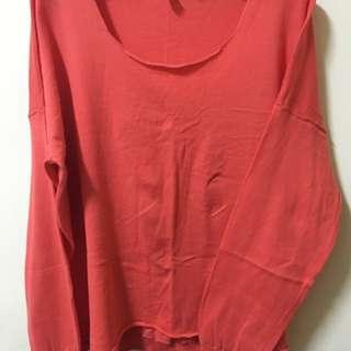 橘紅薄針織毛衣