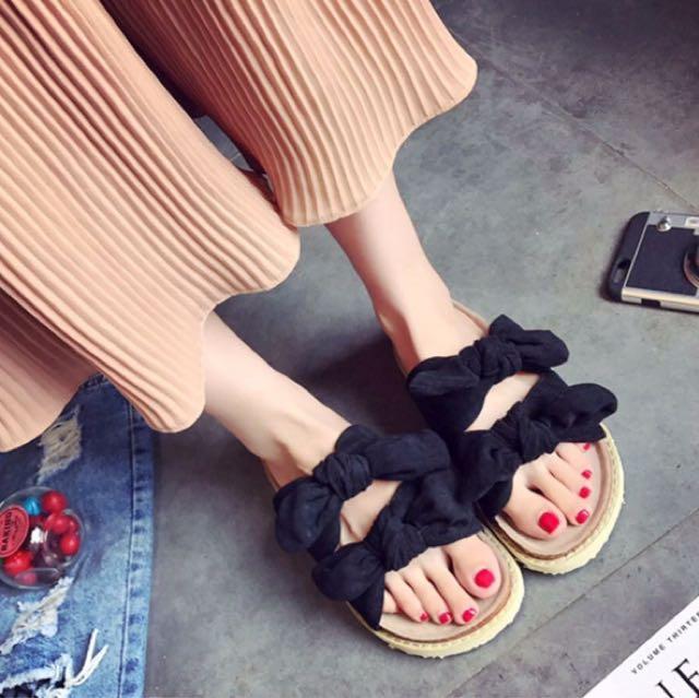 韓版雙蝴蝶結厚底拖鞋