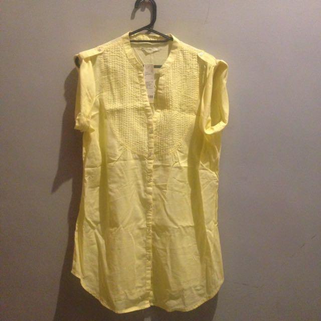 純棉 輕薄 壓折寬版短袖襯衫黃色
