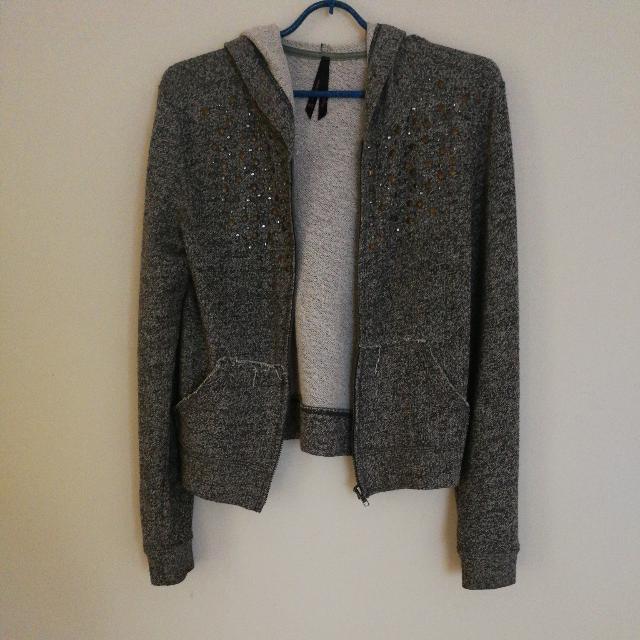 Ally Fashion Grey Studded Hoodie Size XS
