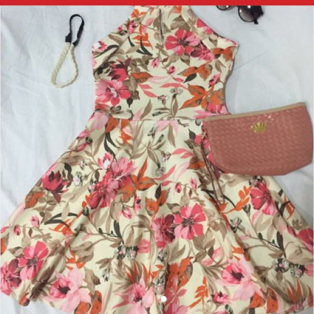 American Floral Dress (turtle Neck)