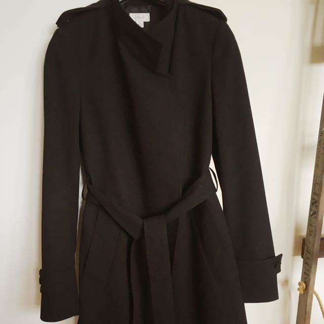 AS NEW - Witchery Black Trench-coat