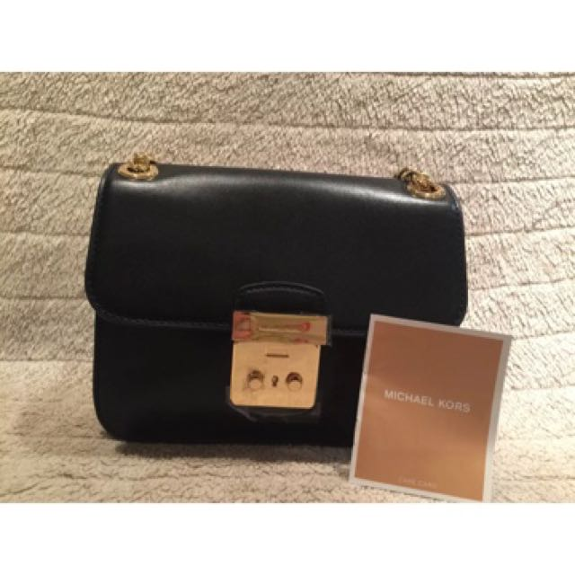 Authentic MICHAEL Michael Kors Sloan Editor Leather Shoulder Bag Black