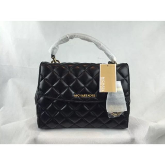 Authentic NWT Michael Kors Small Ava Top handle bag Gold Black Quilted Soft Leather Satchel Leather