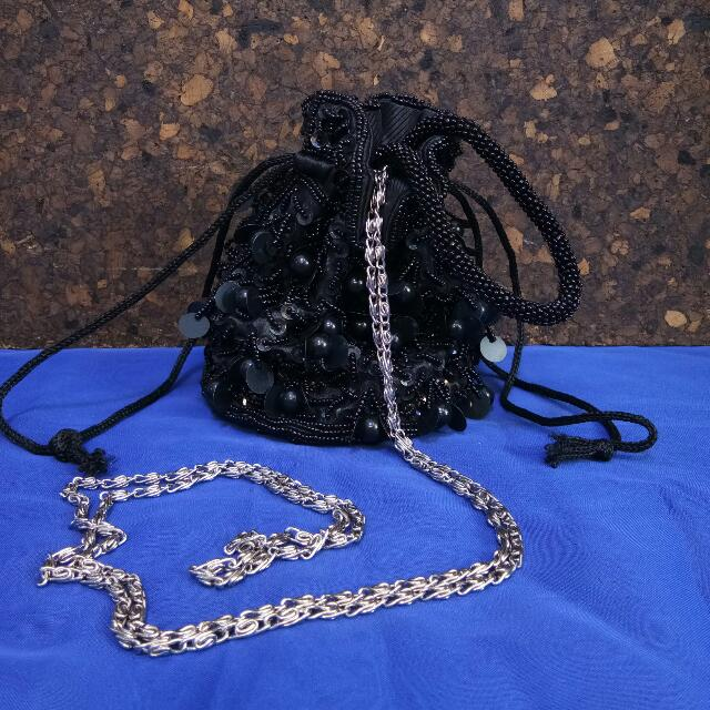 Beaded Black Pouch