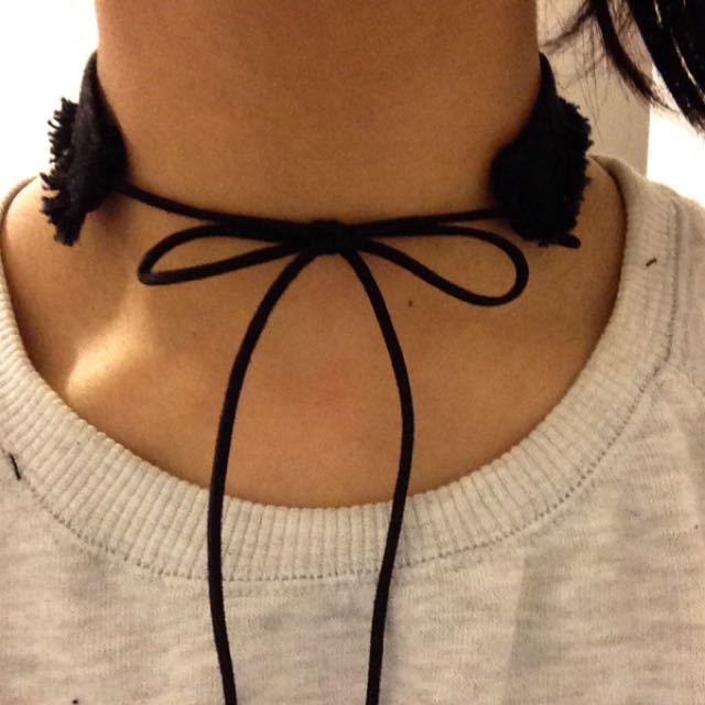Black Denim Choker (handmade)