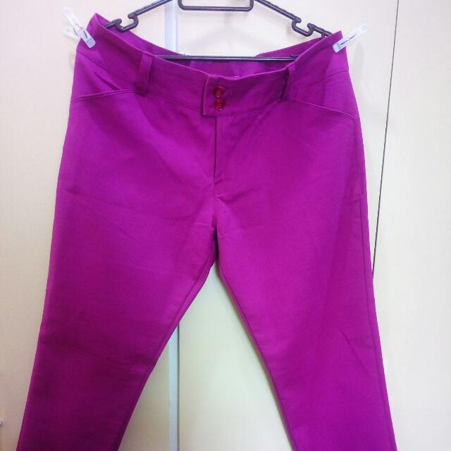 Bright Pink Skinny Pants (Stretched Fabric)