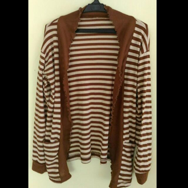 REPRICED!! Brown Simple Stripe Cardigan