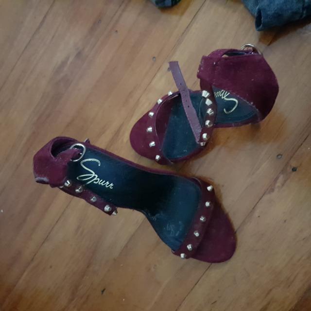 Burgundy Studded Heels