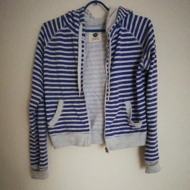 Cotton On Blue Grey Striped Crop Hoodie Size XS