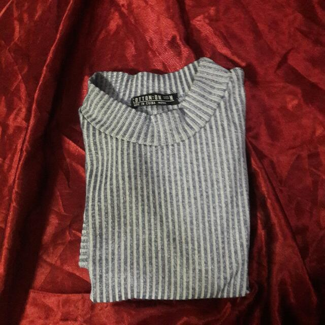 Cotton On Blue Ribbed High Neck Shirt