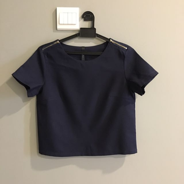 Crop Top Gold Zip Shoulder In Navy Blue