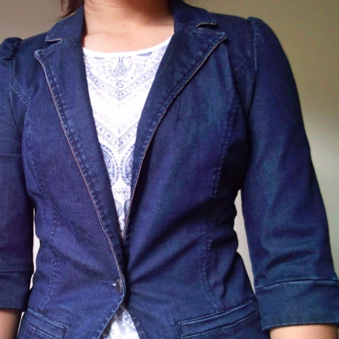 Dark blue Summer Denim Blazer