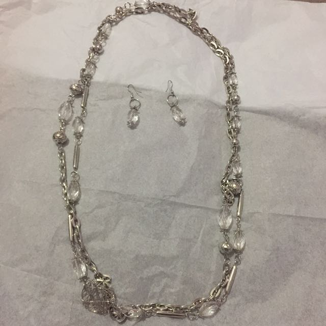 Double Chained Necklace With Matching EarringS
