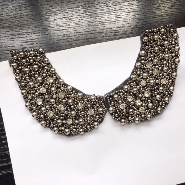Faux Diamonds And Studs Peterpan Collar Necklace Womens Fashion