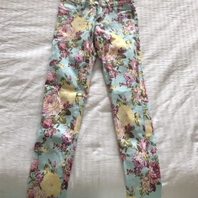 Flower Denim Jeans