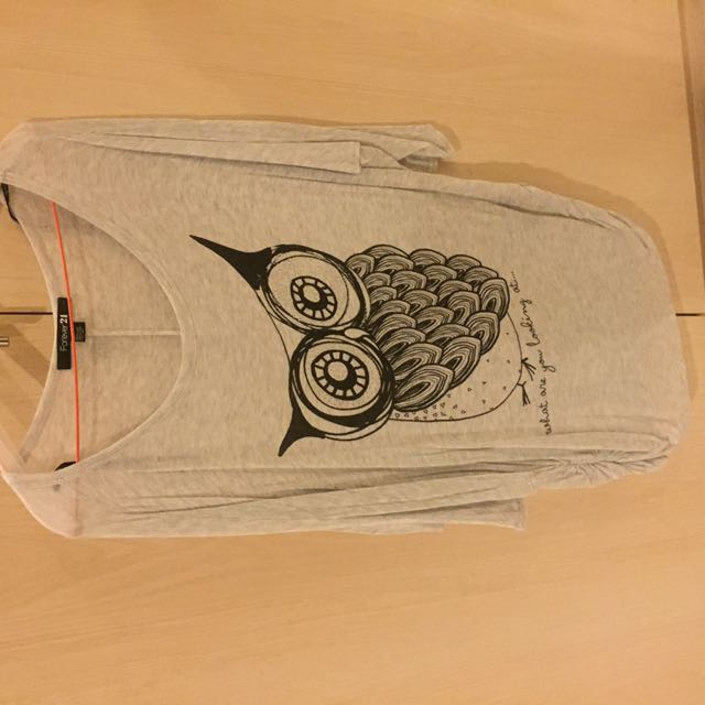 FOREVER 21 Owl Grey Top
