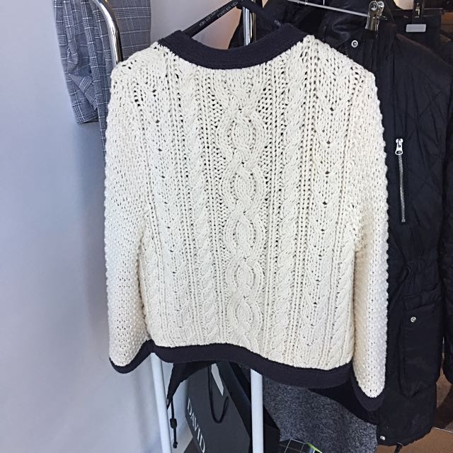 Forever New Knit Jacket In Cream And Dark Navy
