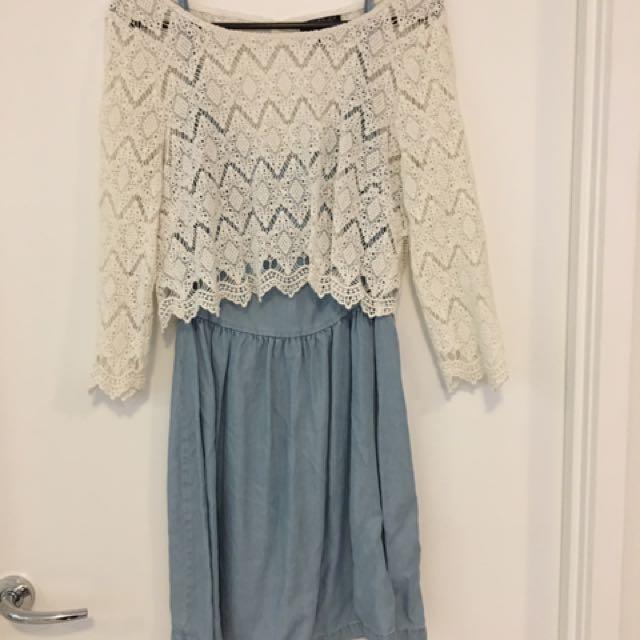 Forever New White And Denim Dress Size 12