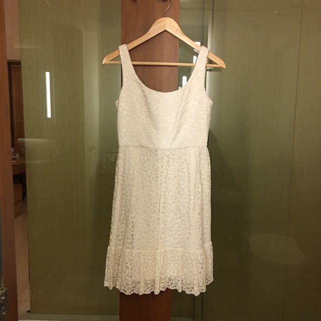 Forever New White Lace Dress Sz 8 UK