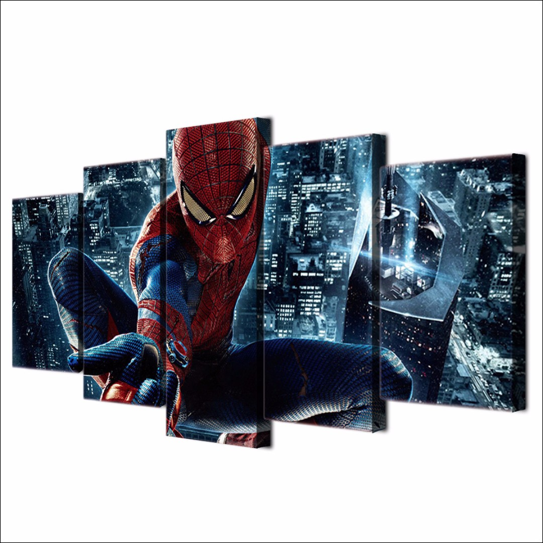 Framed Printed HD Spiderman Movie Superhero Bedroom Canvas Print Poster for Room Decoration Artwork