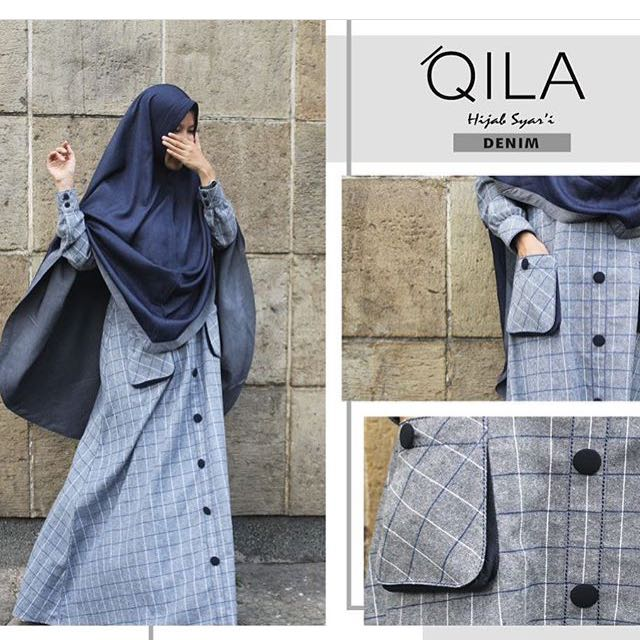 Gamis Set Brand Qila Id Bahan Flanel Soft Denim Olshop Fashion