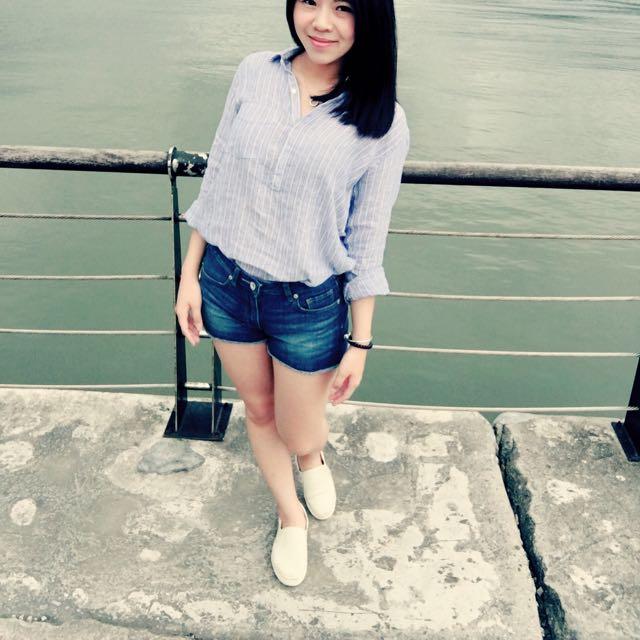 ✌🏻Gap藍條棉麻襯衫