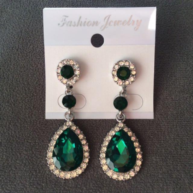 Green Earrings Long
