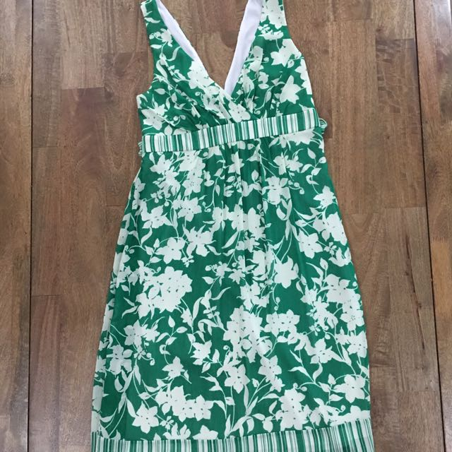 Green floral cocktail dress